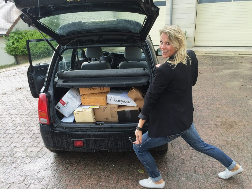 Car filled with Champagne to drive to the Netherlands