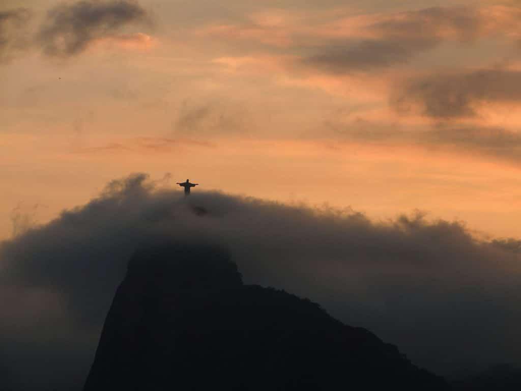The statue in Rio de Janeiro in Brasil, South America