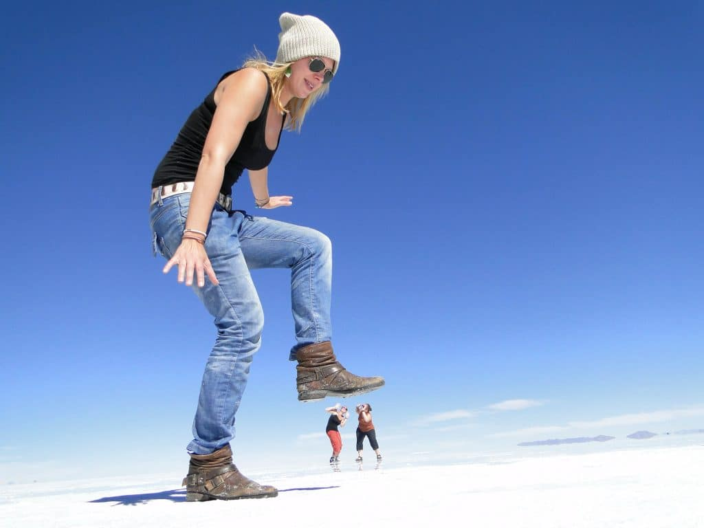 Playing with the salt flats in Bolivia South America
