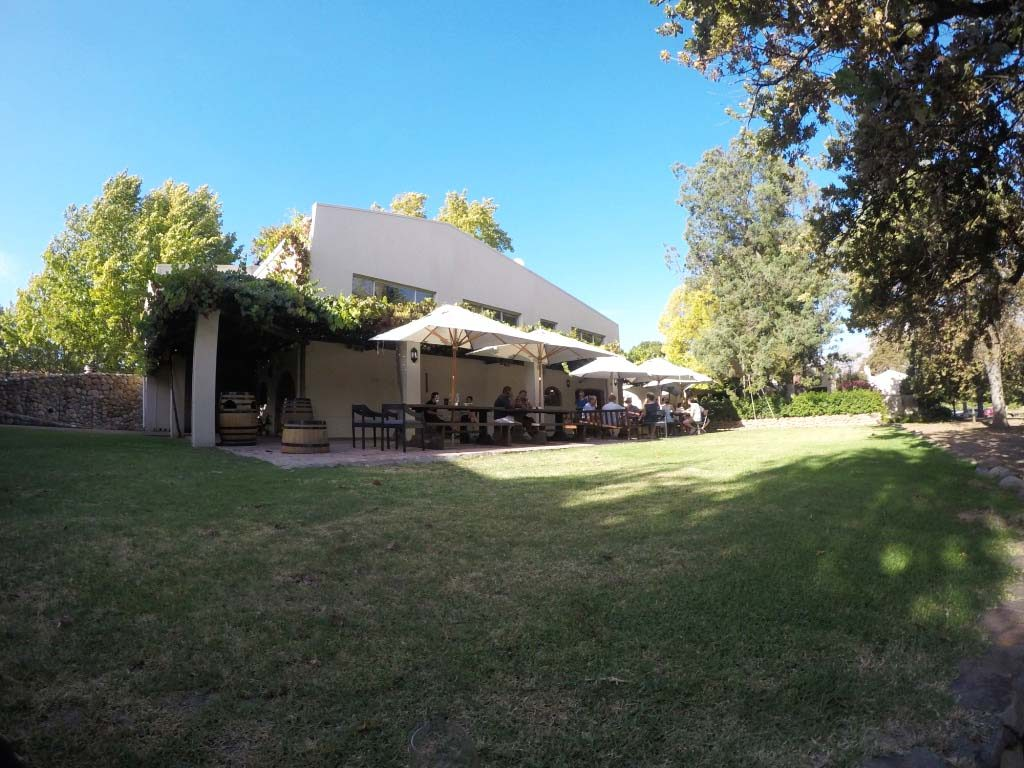 Terrace for wine tasting at Kleine Zalze