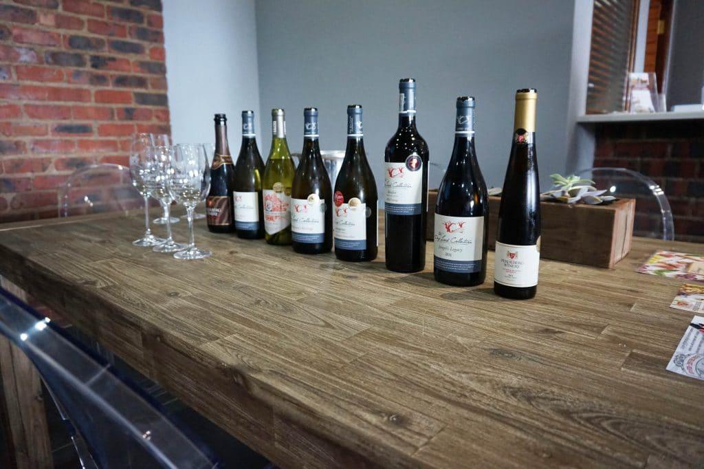 wine bottles ready for tasting