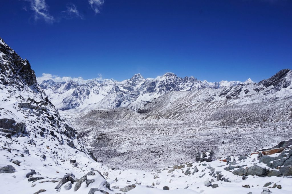 Snow covered mountains at cho la pass