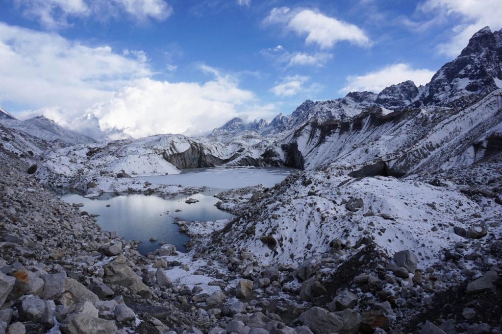 glacier with lake and snow in the Himalaya