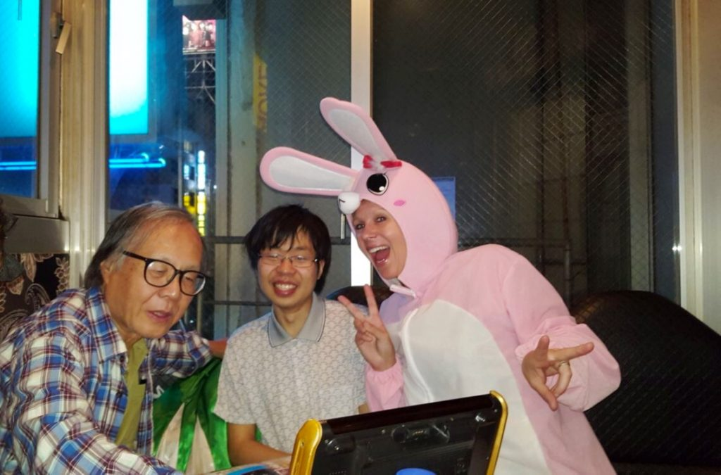 singing karaoke in a bunny suit