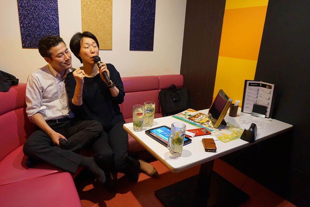 signing karaoke with Japanese couple