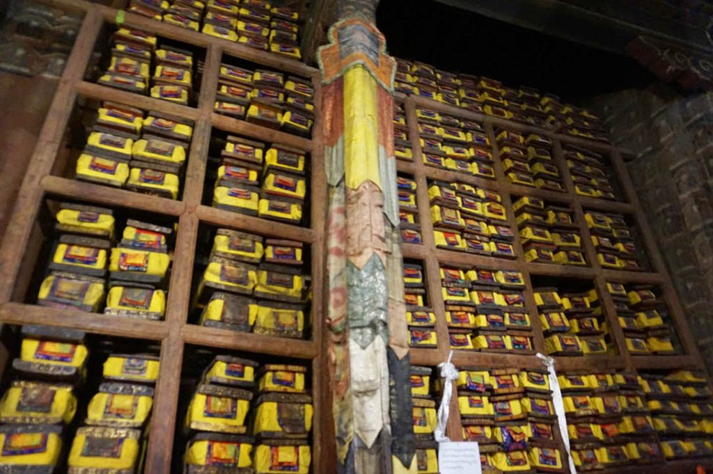 old buddhist manuscripts in Pekor chode monastery visited during Tibet tour
