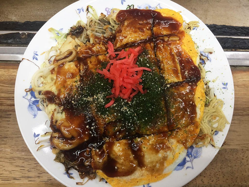 Popular Japanese food, Okonomiyaki, a noodle pancake