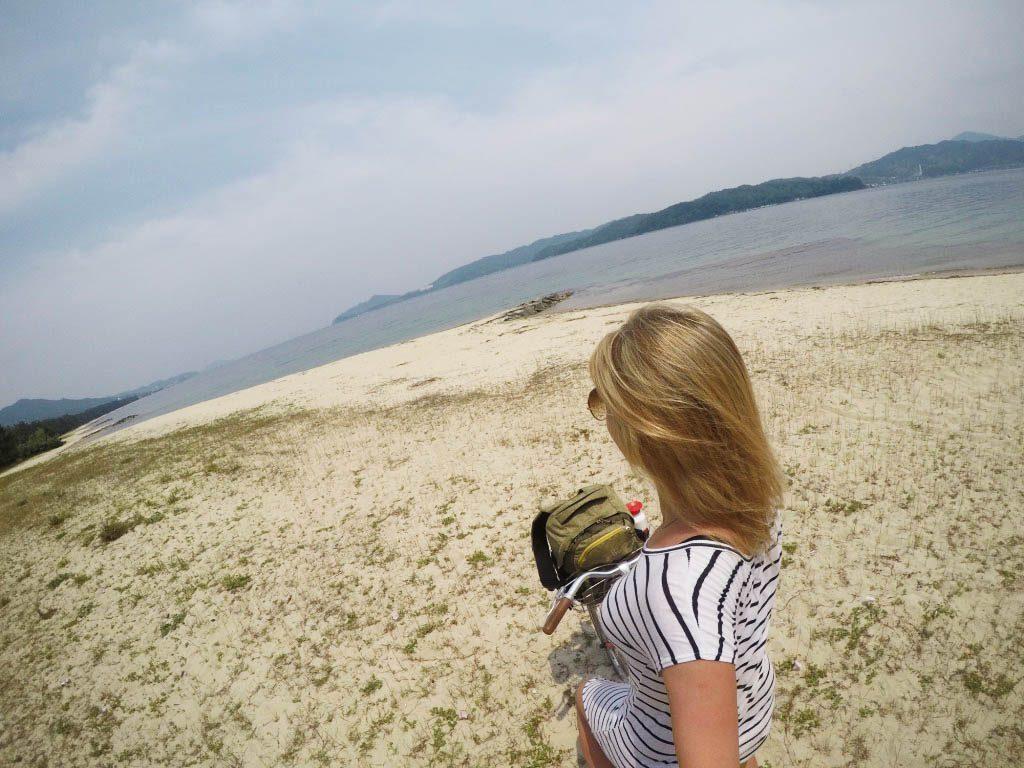 Cycling at the sandbank in Amanohashidate