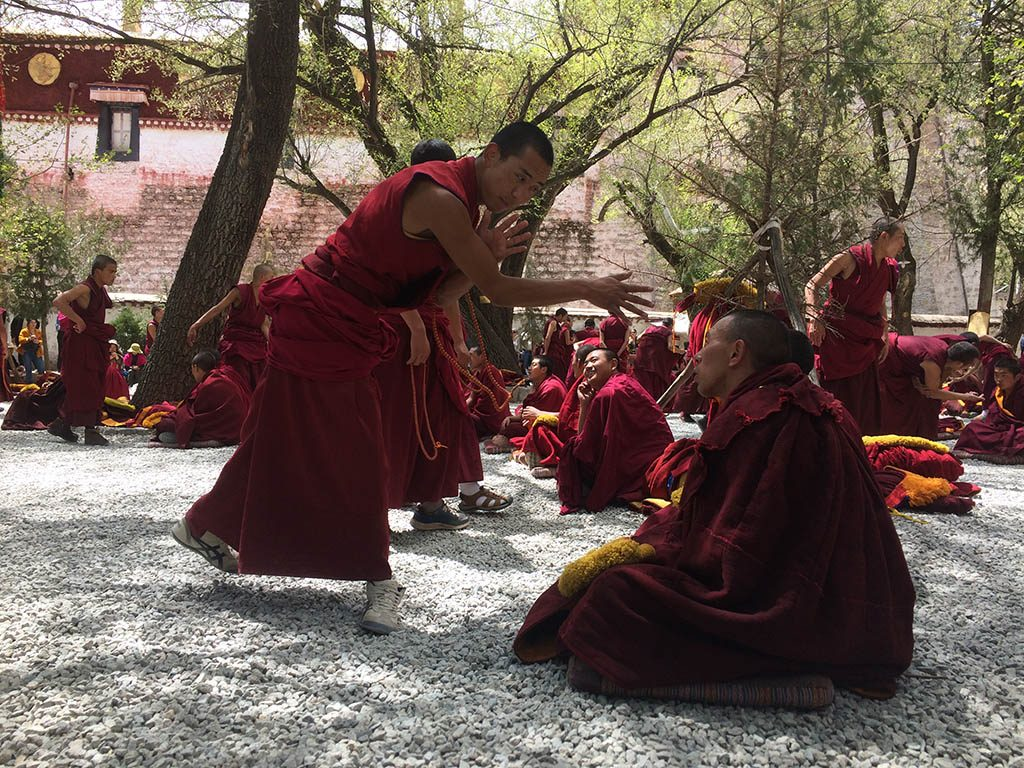 Monks debating Tibetan philosophy