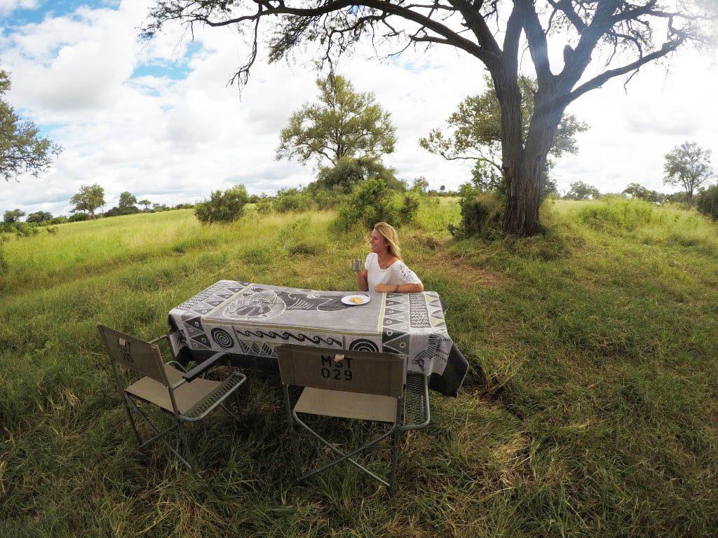 drinking tea in the bush in Botswana