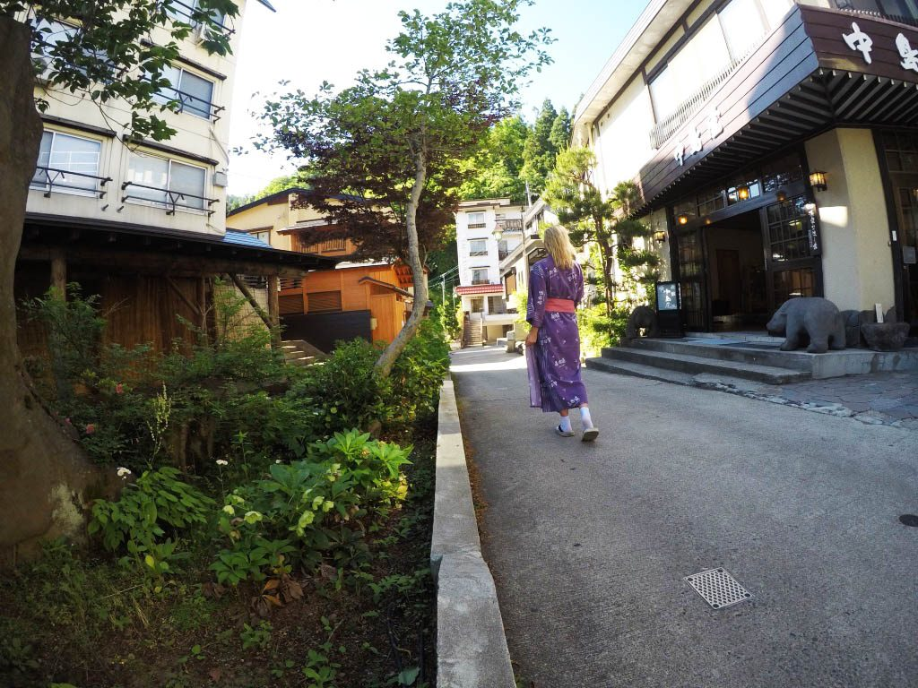 walking around in town in a yukata