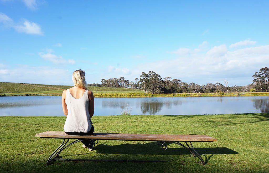 watching the lake and vineyards at aravina estate