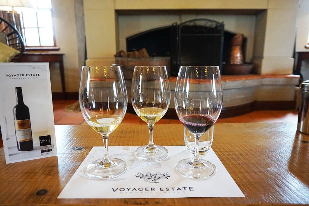 a wine flight at Voyager Wine Estate