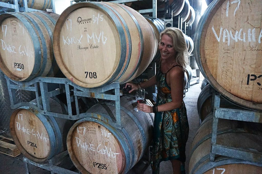 drinking wine straight from the barrel at paringa estate