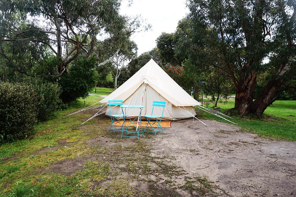 Glamping tent at point Leo