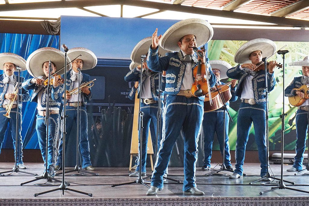Marriachi band performing during lunch at the tequila Herradura Express