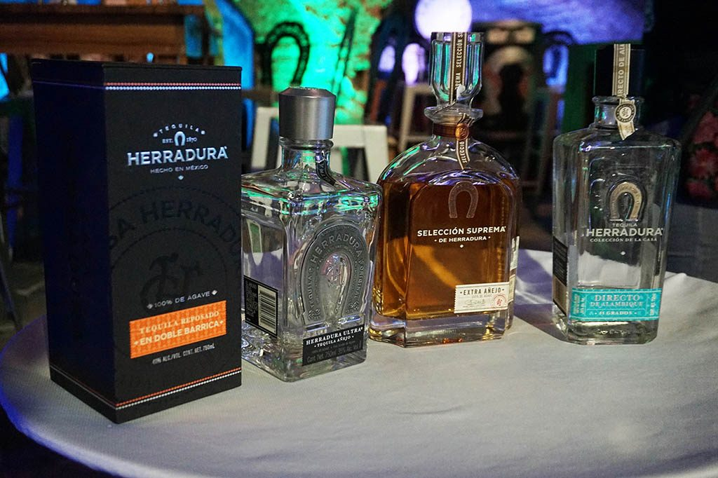 different types of tequila ready for tasting at tequila Herradura express train tour