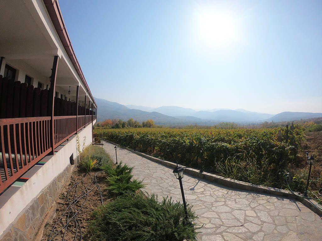 View from the balcony Popova Kula winery in North Macedonia wine