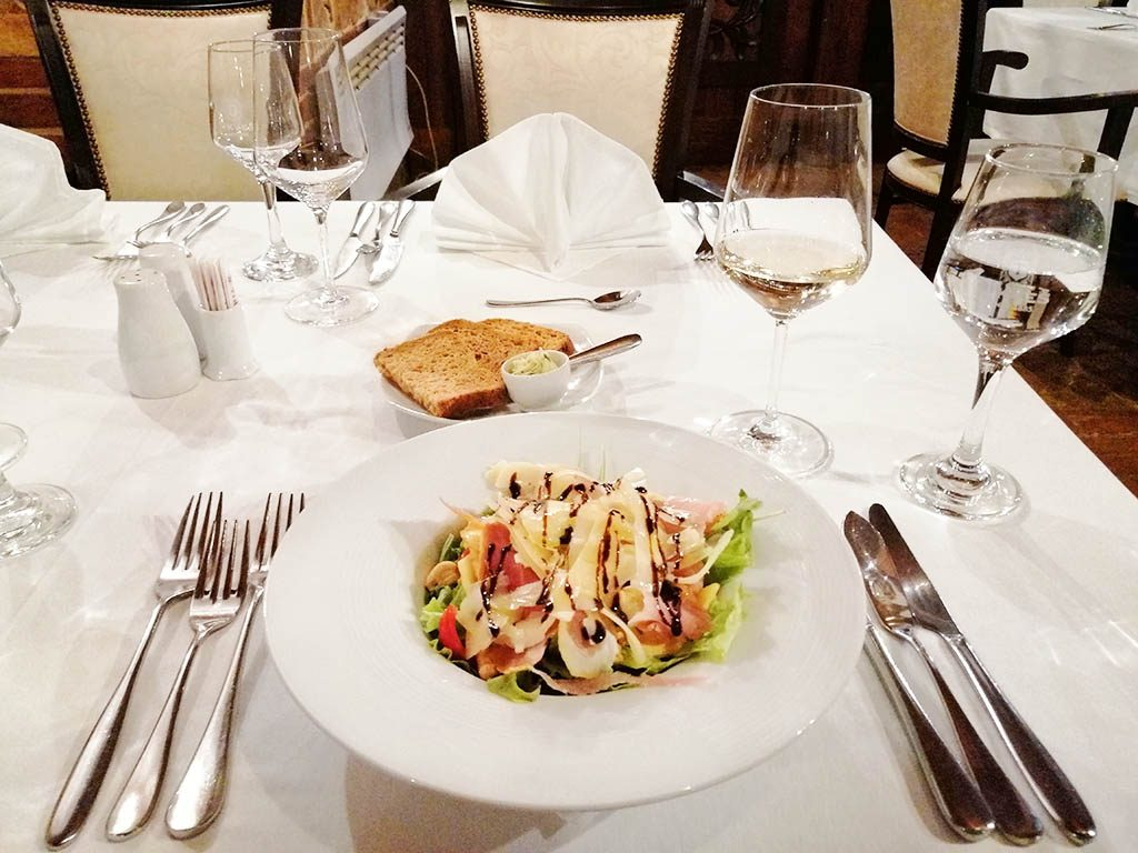 Crispy light salad in the restaurant of Tikves Winery