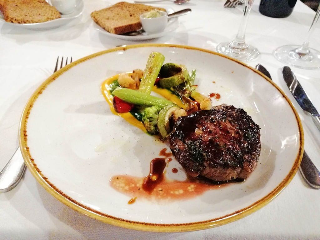 Steak and vegetables at Tikves Winery