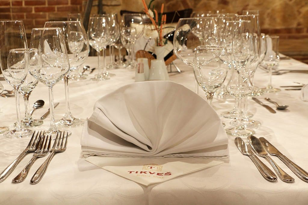 A lovely set table in the restaurant of Tikves Winery