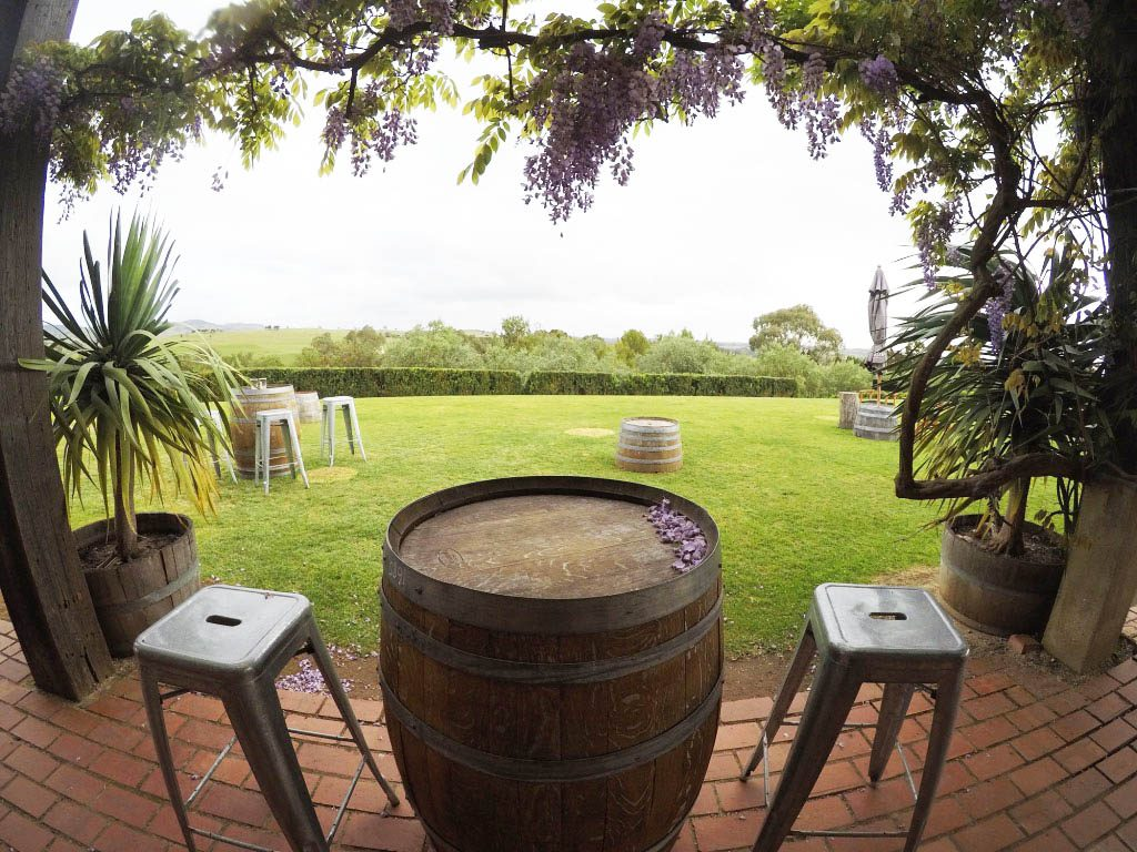 the barrels in the garden of Kellermeister wines