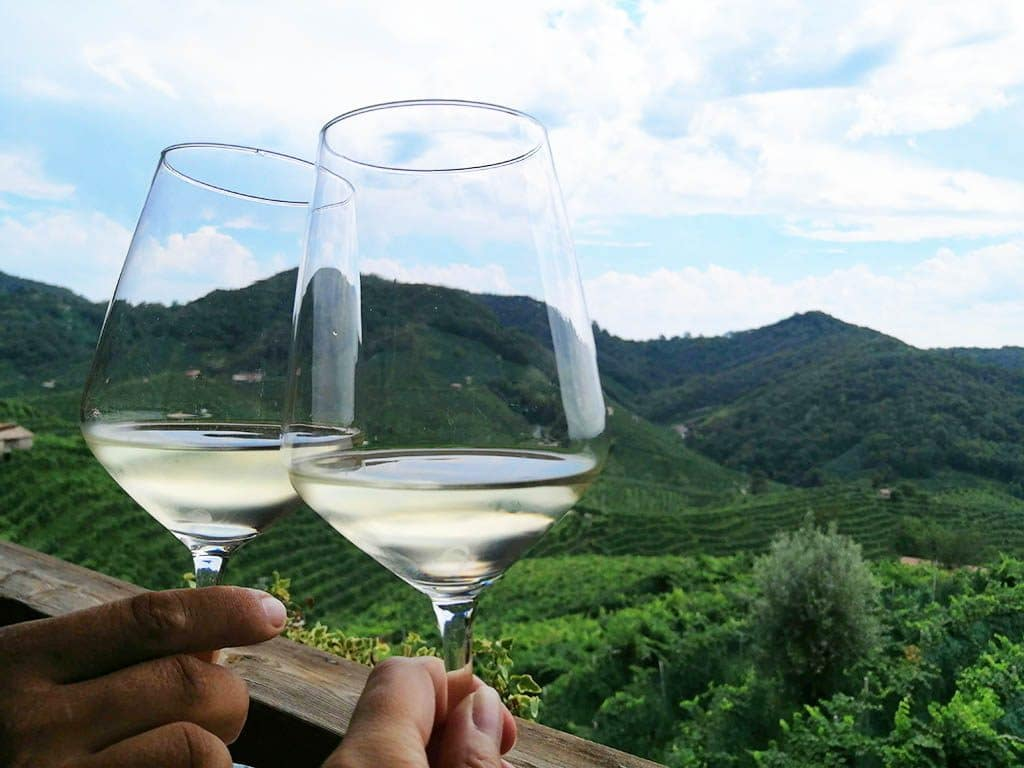 Toasting with prosecco at the prosecco wine route